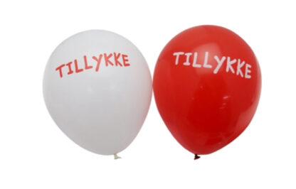 Røde og hvide balloner
