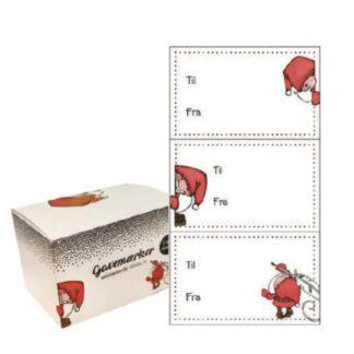 Super flotte selvklæbende gavemærker med julemotiver. Kan bruges sammen med vores røde gavebånd. Se eventuelt også vores gavemærker med nisser.