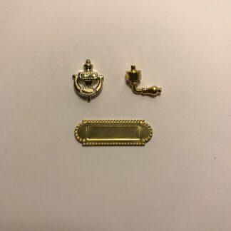 Sæt i 3 dele m/håndtag, dørhammer & brevsprække