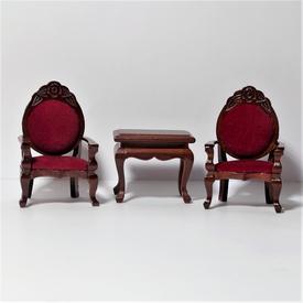 Bord & stolesæt i mahogni med rød betræk