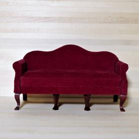 Sofa i rød velour