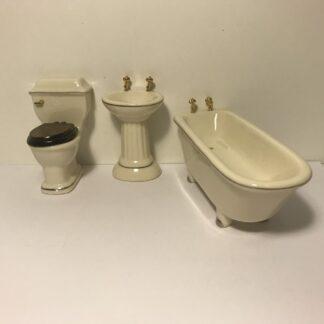 Porcelæns badeværelsesmøbler i 3 dele