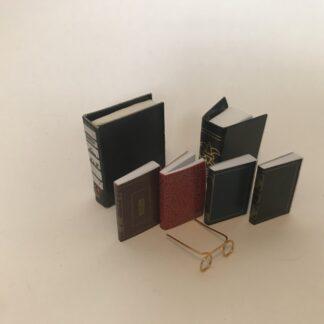 Sæt med 5 bøger, 1 ringbind & briller