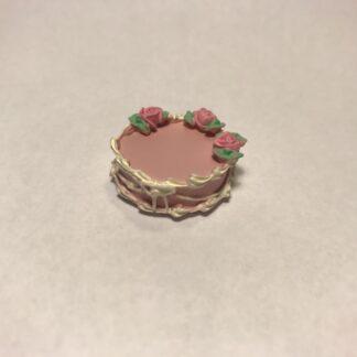 Lyserød lagkage med roser