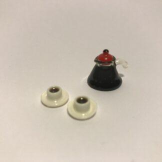 Kaffekande m/låg & 2 kaffekopper m/kaffe