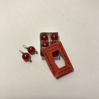 Røde juletræskugler i æske & 2 løse